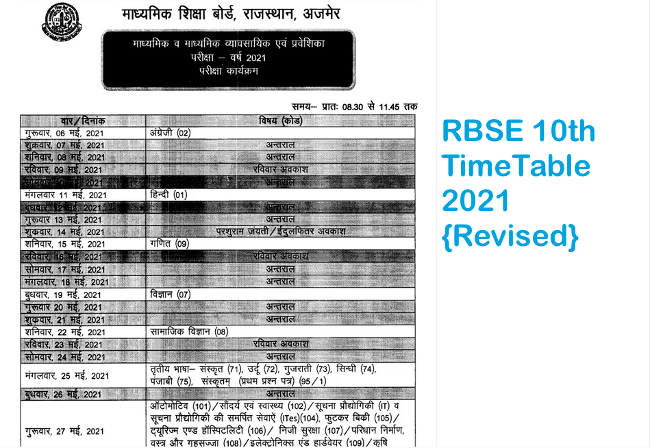 RBSE 10th Class New Time Table 2021
